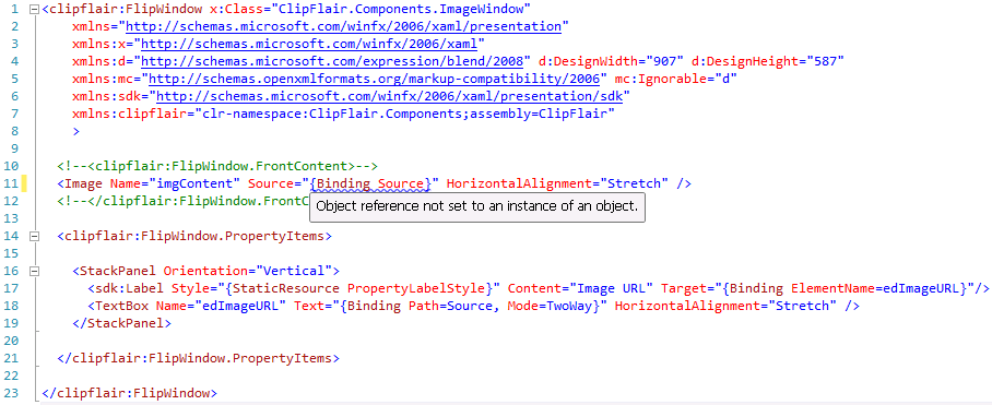 HowTo: Bind to a DataContext property named Source in XAML